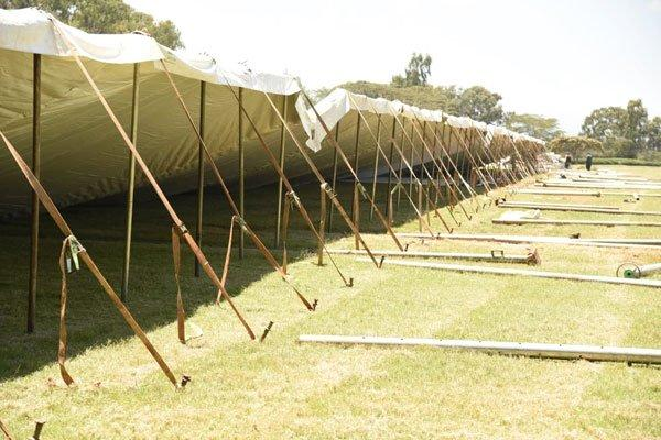 Tents are pictured at former President Daniel arap Moi's home in Kabarak, Nakuru County, on February 8, 2020, ahead of his burial on February 12.