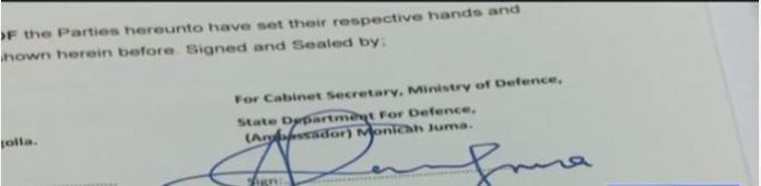 A screengrab of a page purpotedly signed by Defence CS Monicah Juma