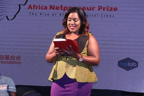 Esmeralda De Souza, Spelz CEO speaks during the launch of Africa Netpreneur Prize Initiative in March 2019