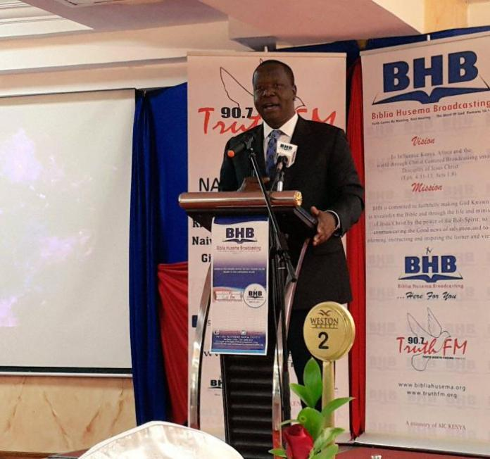 Interior Cabinet Secretary Fred Matiangi during the relaunch of Bibilia Husema Broadcasting & Truth FM 96.7 back on June 18, 2020.