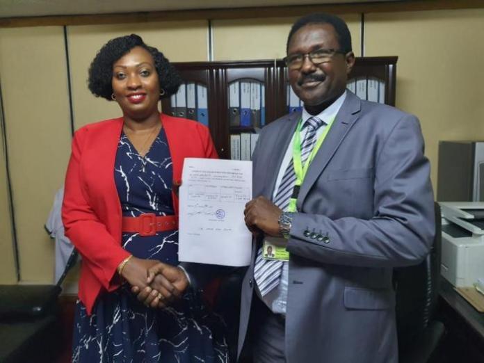 IEBC Nairobi County returning officer Joseph Eroo (r) and Anne Kananu Mwenda (l) on February 10.