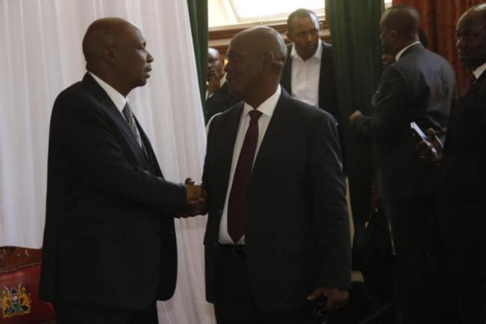 From Left: Baringo Senator Gideon Moi and former Kiambu Governor William Kabogo at parliament buildings during the late second president Daniel arap Moi