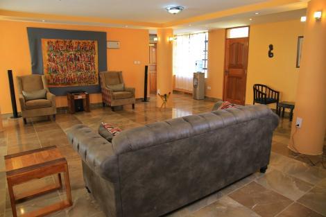 A lounge at the Kitui Villa hotel in Kitui County.