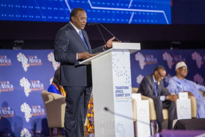 President Uhuru Kenyatta addressing delegates at the Transform Africa Summit 2019.