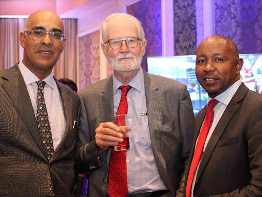 Business men Ali Khan Satchu (left) William Pike and Magnate Ventures managing director Stanley Kinyanjui at the Villa Rosa Kempinski Hotel in Nairobi on November 1, 2016.