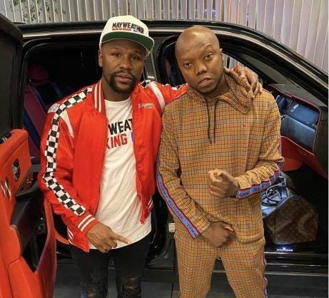 Floyd Mayweather pictured with media personality TBO Touch in South Africa in January 2020