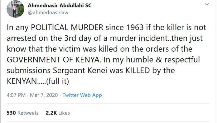 Kenei was killed by government mercenaries – Lawyer Ahmednassir