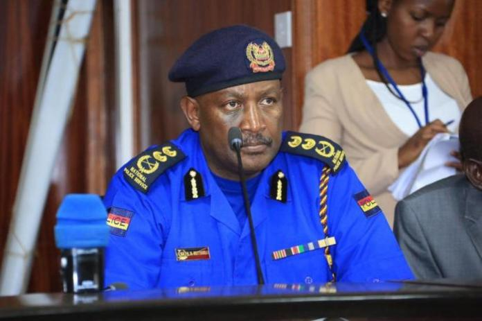 Inspector-General of Police Hillary Mutyambai speaking at the special seating held by the National Assembly