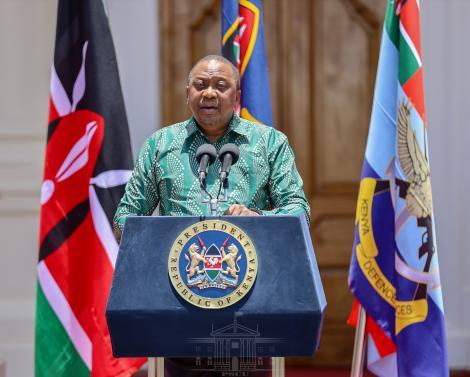 President Uhuru Kenyatta today announcing the approval of Google Loon Services in Kenya.