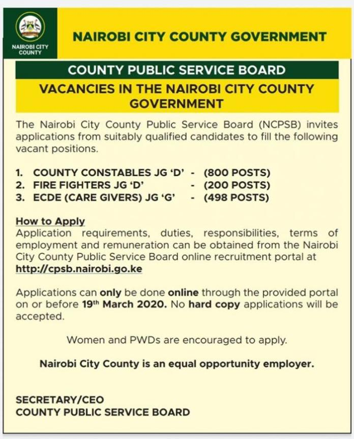 The job vacancy notice that was shared by Nairobi Governor Mike Sonko on March 4, 2020.