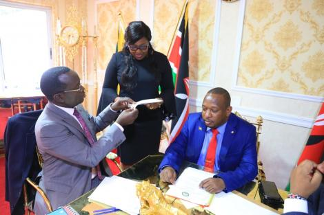 Nairobi Governor Mike Sonko when he he held a meeting with County Executive Committee Members at his private Upper Hill office on Thursday, March 12, 2020.