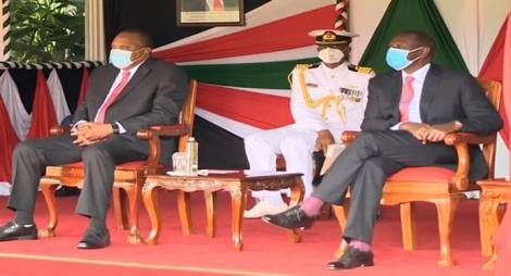President Uhuru Kenyatta with Deputy President William Ruto during Madaraka Day celebration at State House on June 1, 2020