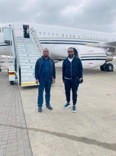 Suna East MP Junet Mohammed and Mombasa Governor Ali Hassan Joho pictured ahead of their trip to Dubai on July 9, 2020