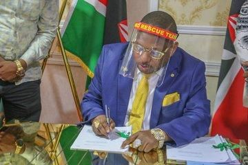 Nairobi Governor Mike Sonko signs the Supplementary Appropriation Bill 2020 on Wednesday, June 3, 2020.