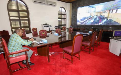 President Uhuru Kenyatta pictured during the virtual meeting with the special coronavirus emergency taskforce on April 1, 2020.