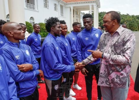 President Uhuru Kenyatta meets the AFC Leopards at State House Nairobi on March 7, 2020.
