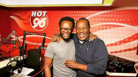 Hot 96 radio show hosts Jeff Koinange (right) with Professor Hamo in the Hot 96 studios.
