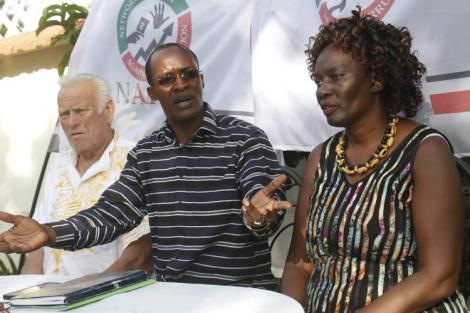 Network Action Against Corruption Director Gordwins Agutu (centre) during a past press briefing