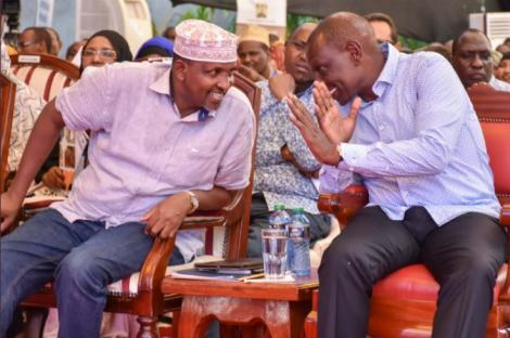 DP William Ruto with Leader of the Majority in the National Assembly Adan Duale during the Pastoralists Leadership Summit in Garissa on March 1, 2019.