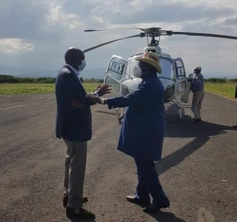 Baringo Senator Gideon Moi (Left) and COTU Secretary General Francis Atwoli pictured on the airstrip at the Moi Kabarak home on August 1, 2020.