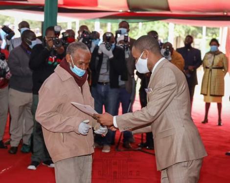 Embakasi East MP Paul Ongili aka Babu Owino issue a title deed on Friday, August 21, at KICC, Nairobi.