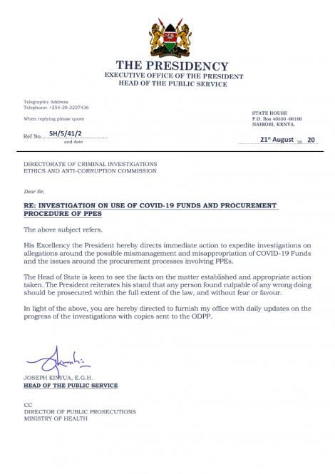 A fake letter that has been circulating on social media claiming that President Uhuru Kenyatta ordered investigations into the Covid-19 scandal.