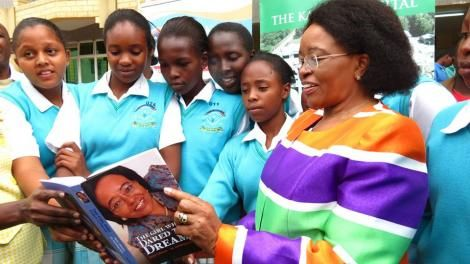 Outgoing Karen Hospital CEO Betty Gikonyo with school girls