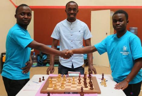 James Kang'aru overseeing a chess game at Light House Mombasa on November 2019.