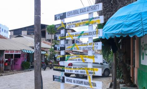 One of the vandalized billboards pictured in Nyali, Mombasa on August 16, 2020