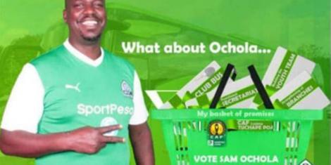 A campaign poster for Gor Mahia Secretary General Sam Ocholla