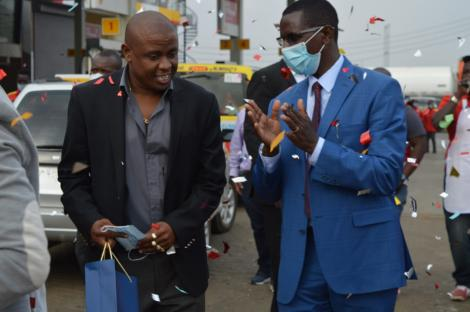Businessman Eric Ndichu (left) during the launch of his petrol station in Juja on August 13, 2020