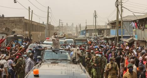 President Uhuru Kenyatta pictured in Nairobi Slums on August 10, 2020.