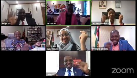 A screenshot of the International Youth Day 2020 zoom meeting led by President Uhuru Kenyatta on August 12, 2020.