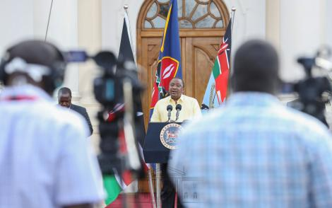 President Uhuru Kenyatta addressing the nation from State House Nairobi on April 6, 2020. He issued new directives regarding the governments move to combat Covid-19.