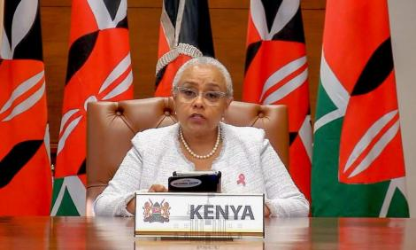 First Lady Margaret Kenyatta speaking at the inaugural virtual Inclusive Africa Conference 2020 on October 8, 2020
