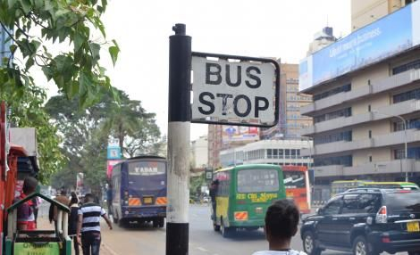 Matatu Bus Stop Sign at GPO Stage, Along Kenyatta Avenue in Nairobi. Monday, October 21, 2019