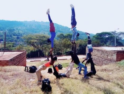 Clan Acrobats rehearsing their routine