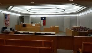 An empty court room in Dallas, Texas.