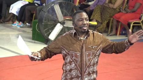 A photo of Pastor James Ng'ang'a of Neno Evangelism delivering a past sermon at the church.