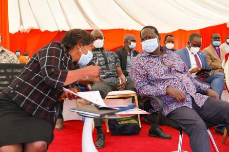 Kitui Governor Charity Ngilu and former Prime Minister (right) at the launch of the Kitui Affordable Housing project on Monday, December 14, 2020