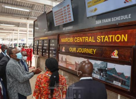 PresientUhuru Kenyatta at the Nairobi Central Railway Station on November 10, 2020.