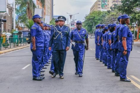 Governor Mike Sonko inspects a guard of honour outside City Hall on October 20, 2020
