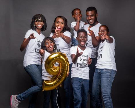 Monix Chege (3rd left) poses for a photo with her family on October 30, 2020.