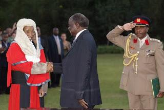 CJ Evan Gicheru at the infamous dusk swearing in with president Kibaki