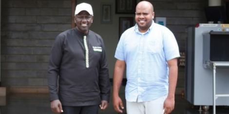 Deputy President William Ruto with Msambweni parliamentary aspirant Feisal Abdallah Bader