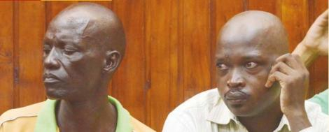 Joseph Ogolla and John Ochieng at the Mombasa High Court on October 26, 2018. The two were convicted for the murder of Dutchman Jacobus Van Der Goes.