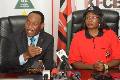 Betty Adera and KFCB CEO Ezekiel Mutua during her unveiling as KFCB's Clean Content National Ambassador on February 26, 2020.