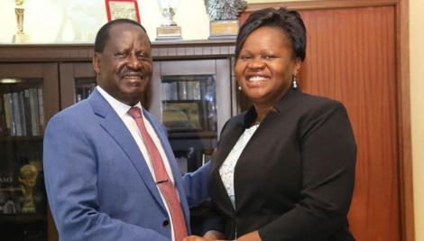Homa Bay Woman Representative Gladys Wanga with ODM leader Raila Odinga on