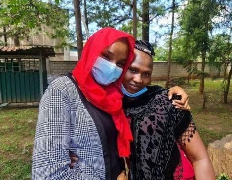 Citizen TV anchor Lulu Hassan and Wambua's daughter, Dorcas Mwende pose for a photo.