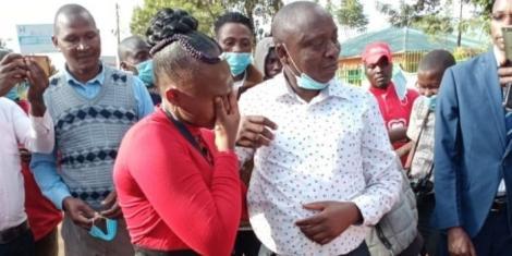 Julius Wambua and his daughter Dorcas when they left the Kamiti Maximum Prison on December 18, 2020.